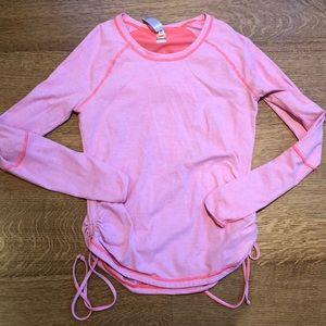 Lucy Activewear Neon Striped Ruched Athletic Top M